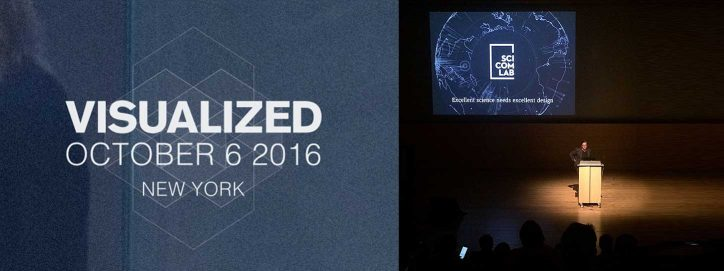 Tom Duscher presenting the Science Communication Lab at visualized 2016